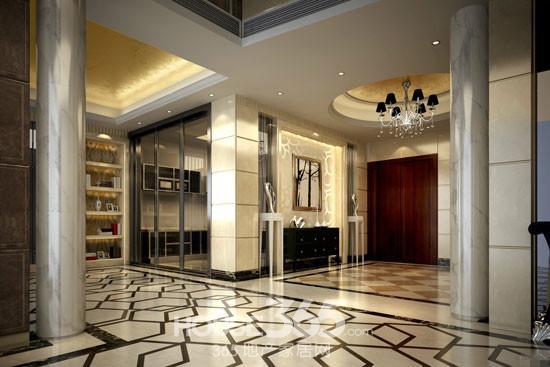 现代欧式玄关效果图:玄关柜运用了镂空雕花造型,配合镜面装饰条
