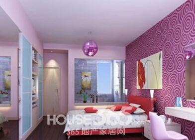 卧室装修效果图:柔和的紫色墙面,白色的卧室窗帘,深紫色