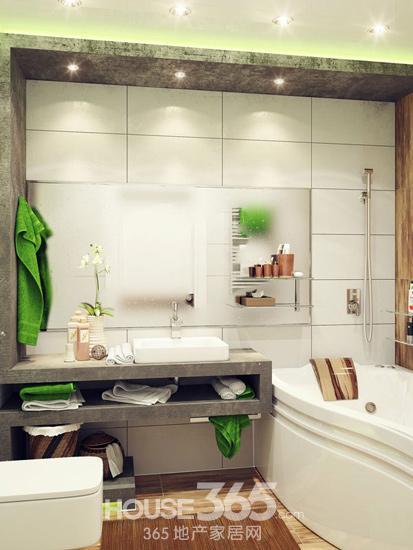 """间的""""己""""字型洗手台,空间充满立体感.   小户型卫生间效果图:"""
