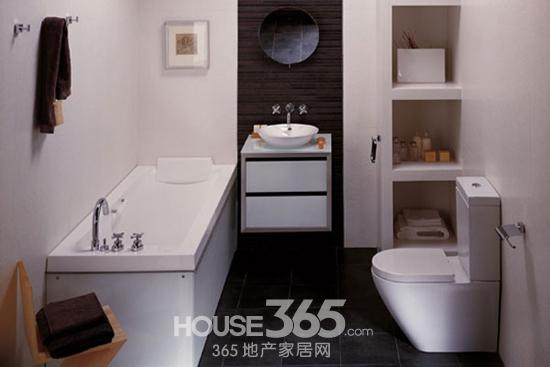 小户型卫生间效果图:棕色背景墙划出了洗手台位置,同时与洗手台