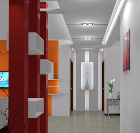 客厅进门玄关效果图:走廊吊顶装修效果图,造型很简约.