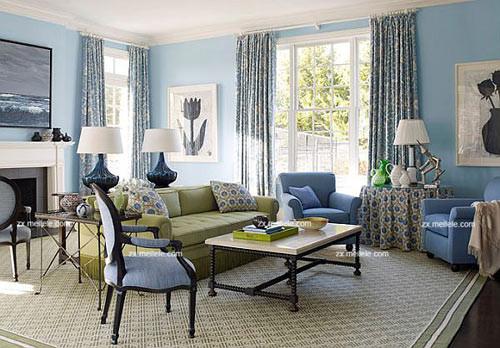 蓝色客厅设计 感受海洋的梦幻氛围