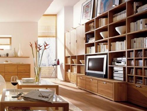 天然木质收纳型客厅电视墙装修
