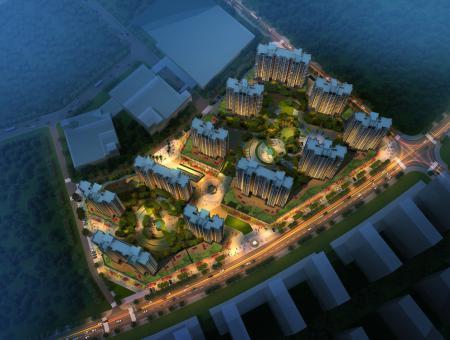 江泰•国际星城全区鸟瞰夜景